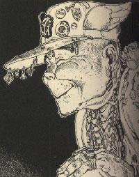 この老人(↑)と、『へうげもの』の丿貫を、足して二で割ったような顔でした。目はどこも見ていなかったです。